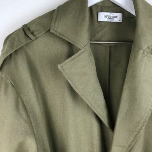 """Carly Jean Los Angeles Jackets & Coats - Carly Jean L.A.     """"Dayton"""" Olive Linen Duster"""